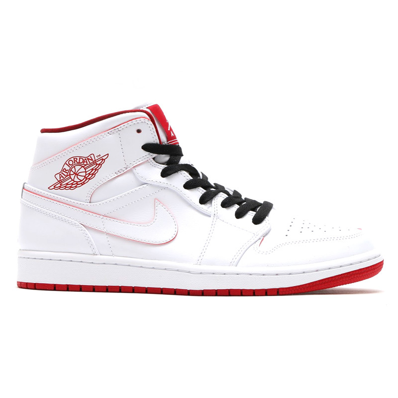Lovers Jordans 1 Mid White Black Shoes