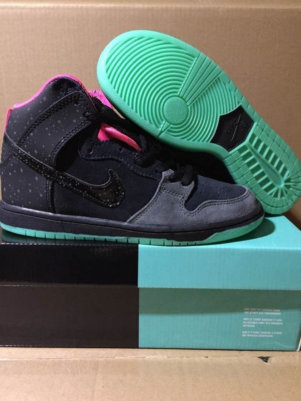Lovers Nike Dunk High SB Black Green Glow In Dark Sole Shoes
