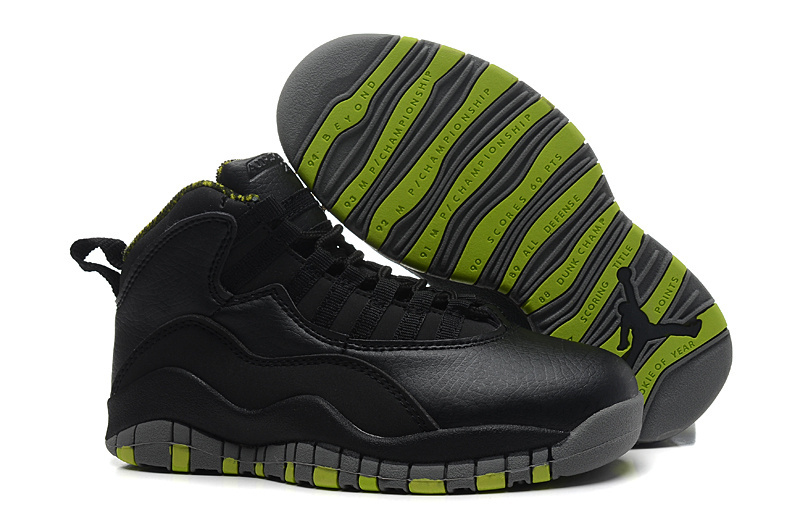 New Jordans 10 All Black Green Shoes For Sale
