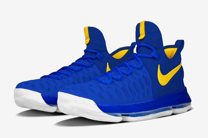 New Season Of KD 9 The Warriors Home White Blue Yellow Shoes For Sale