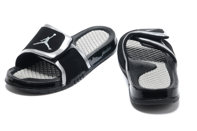 New 2013 Jordan Hydro 2 Retro Black Silver Slipper