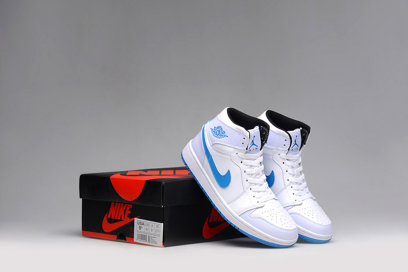 New 2015 Jordans 1 White Blue Shoes