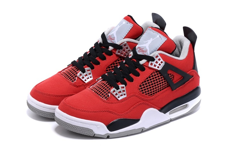 New Jordans 4 Canvas Red Black White Sneaker