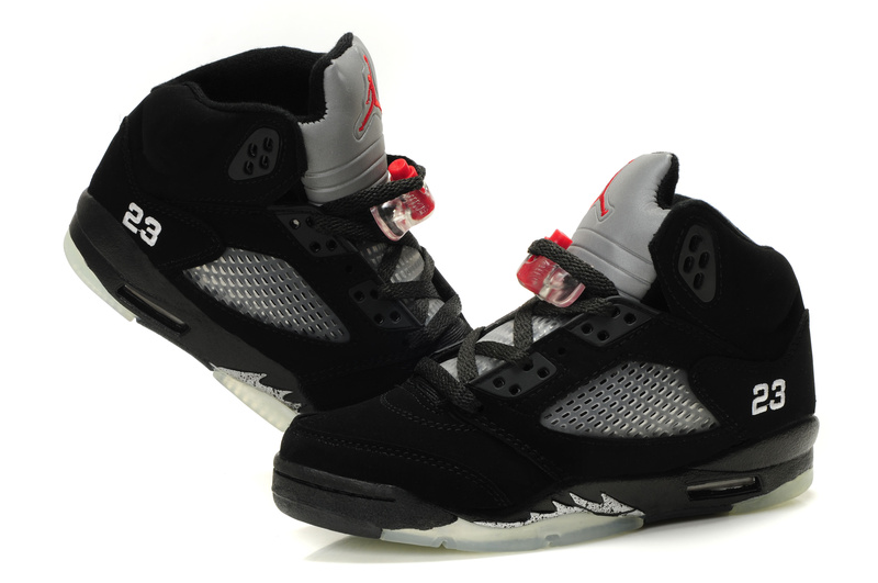 New Air Jordan 5 Classic Black Grey Silver For Women
