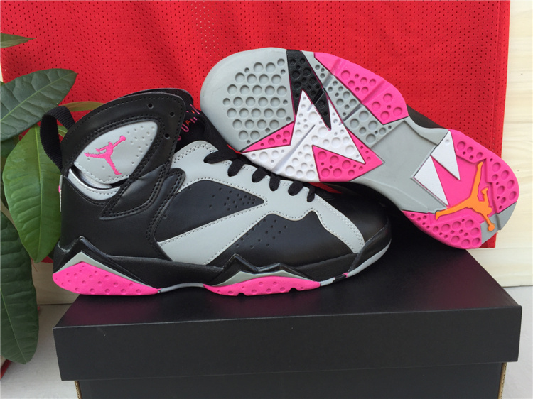 New Jordans 7 Black Grey Pink Shoes For Women