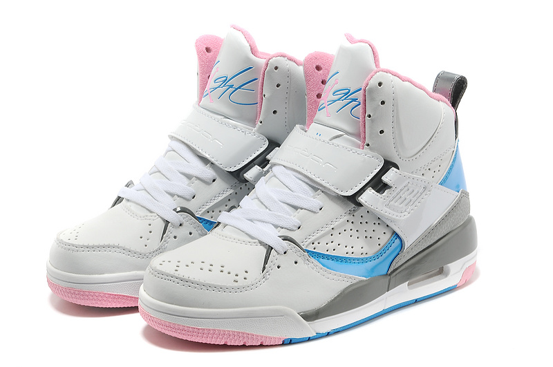 New Jordans Flight 4.5 Grey Pink Blue Shoes