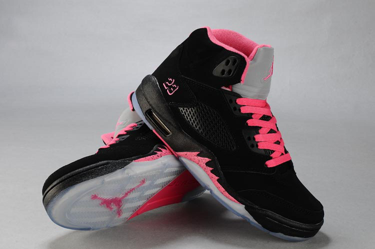 New Arrival Air Jordan 5 Retro Black Pink White For Women