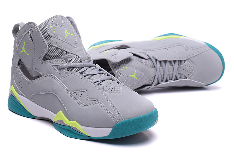 New Jordans 7 Grey Green Shoes For Women
