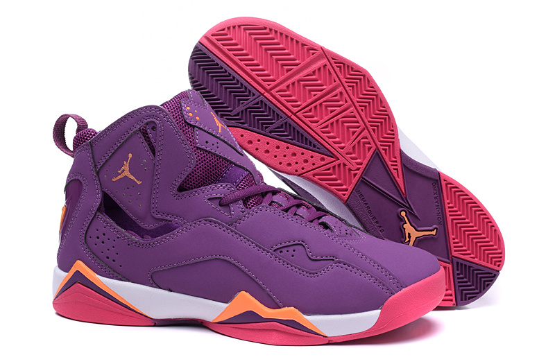 New Jordans 7 Purple Red Orange Shoes For Women
