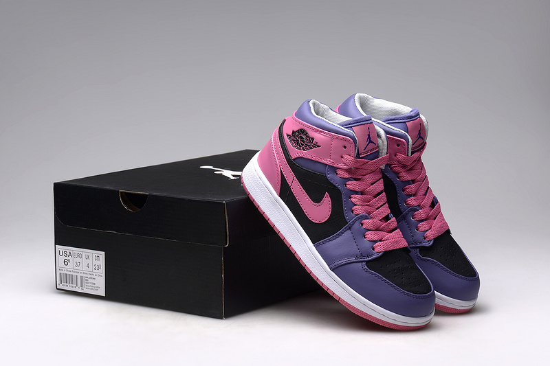 New Jordans 1 Retro Pink Blue Black For Women Sneaker