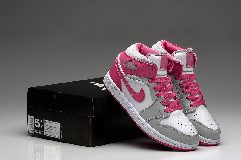 New Jordans 1 Retro White Grey Pink For Women Sneaker