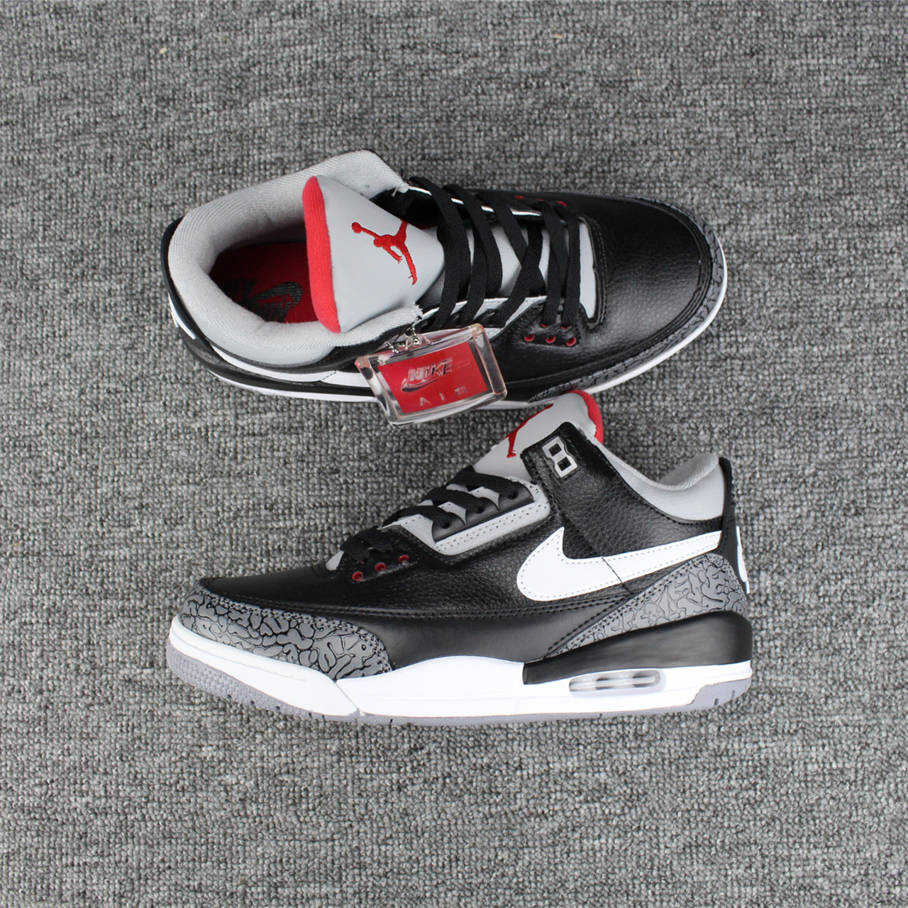 New Jordans 3 Black Cement White Swoosh Shoes For Sale