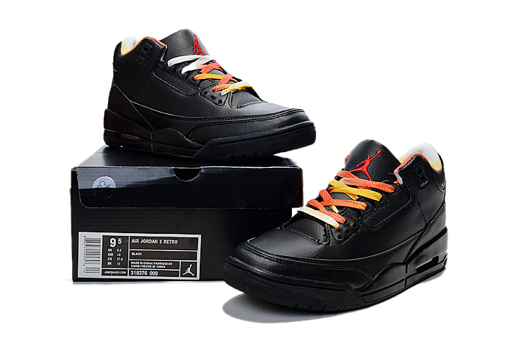 New Jordans 3 Retro Black Colorful Sneaker