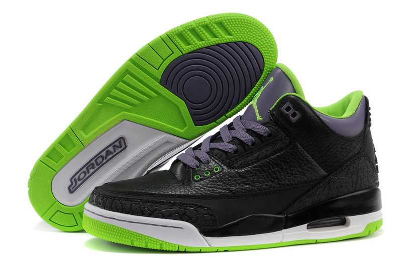 New Jordans 3 Retro Black Purple Green Sneaker