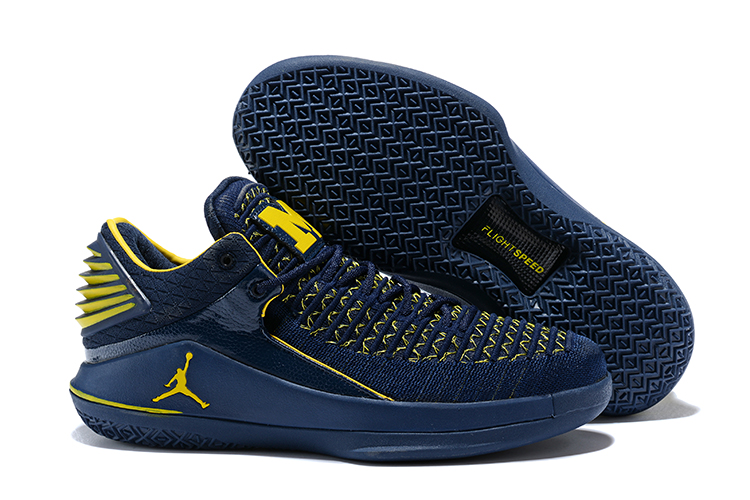 2018 Jordans 32 Dark Blue Yellow Shoes For Sale