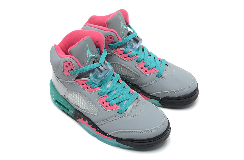New Jordans 5 Retro Grey Pink Green For Women Shoes