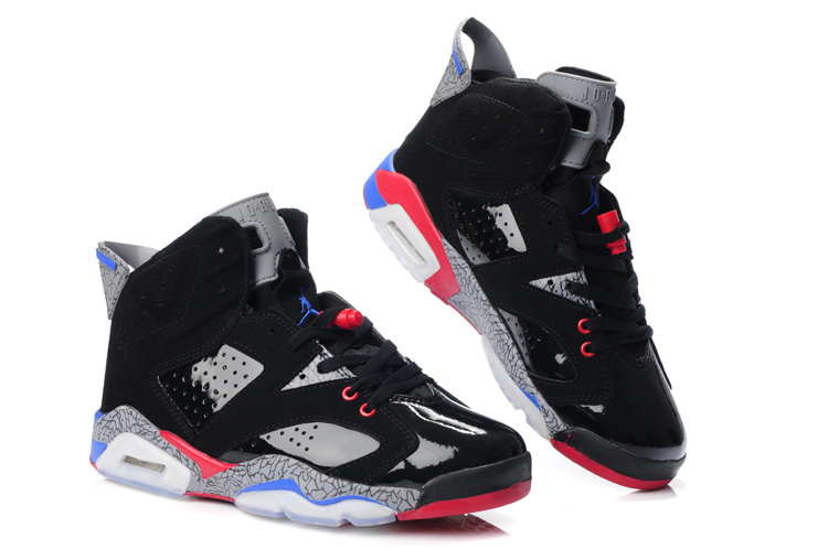 New Jordans 6 Original Black Grey Red Blue_06