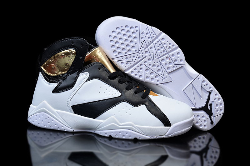 New Jordans 7 Retro White Black Gold For Women Sneaker