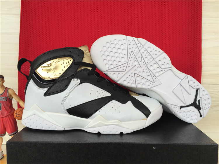 New Jordans 7 Retro White Black Gold Shoes