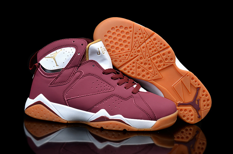 New Jordans 7 Retro Wine Red White Orange For Women Sneaker