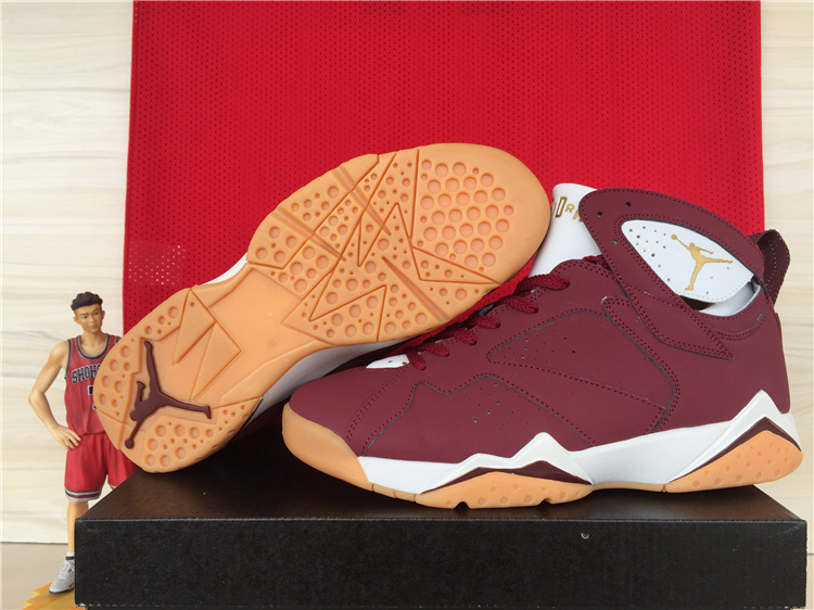 New Jordans 7 Retro Wine Red White Orange Shoes