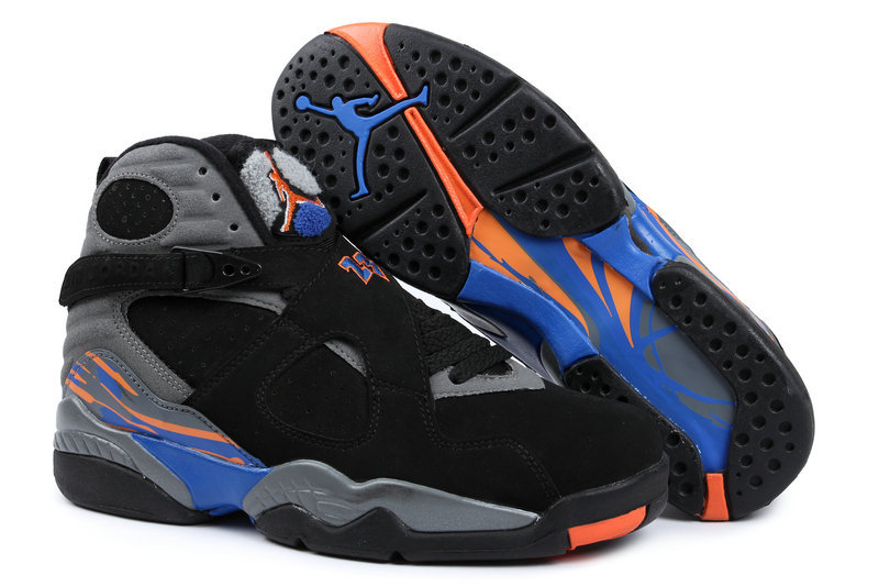 New Jordans 8 Retro Black Grey Blue Orange Sneaker