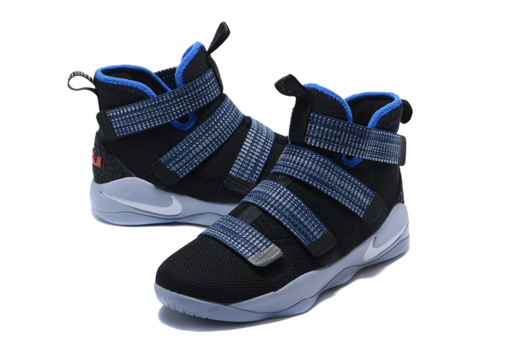 New Lebron Solider 11 Black Grey Blue Iron Shoes