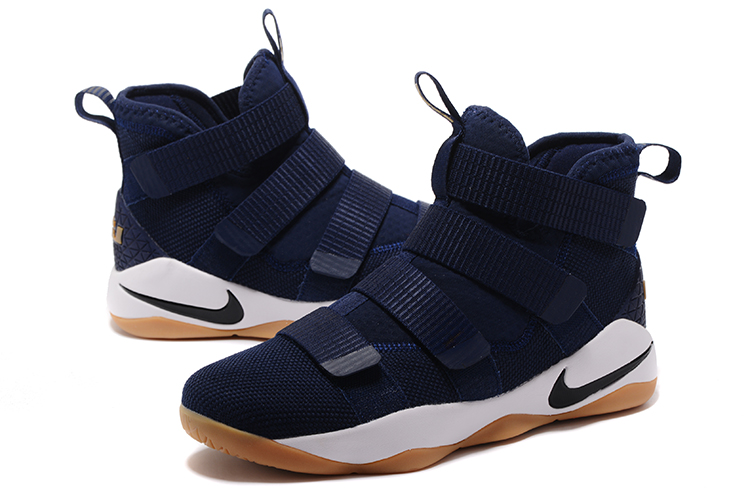 New Lebron Soloder 11 Dark Blue White Rubber Shoes