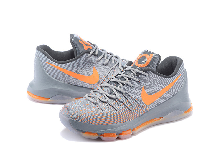 2015 Nike KD8 Grey Orange Basketball Sneaker