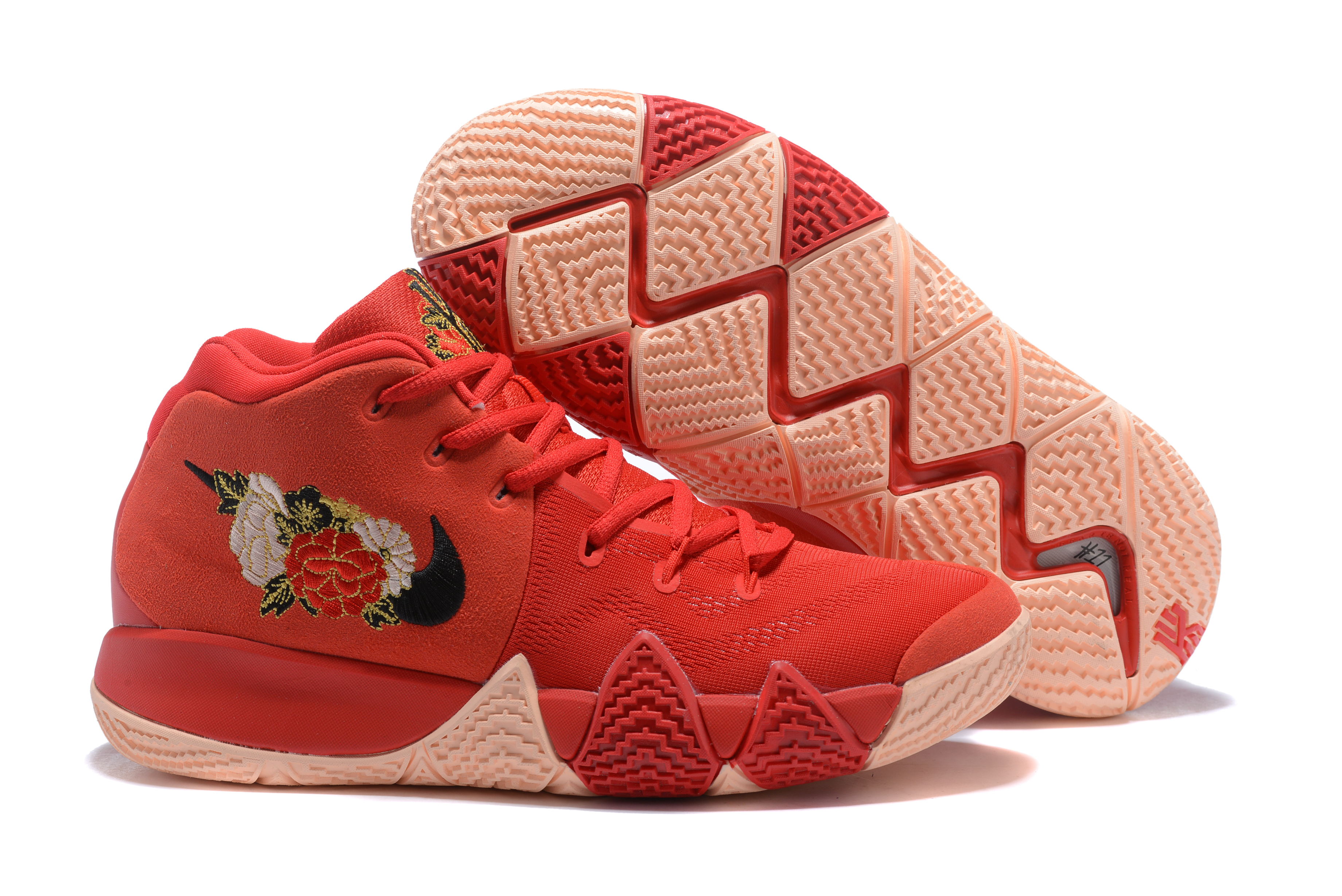 New Nike Kyrie 4 Chinese Red FLowers Shoes