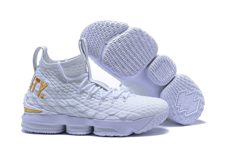 2018 lebron 15 White Gloden Shoes For Sale