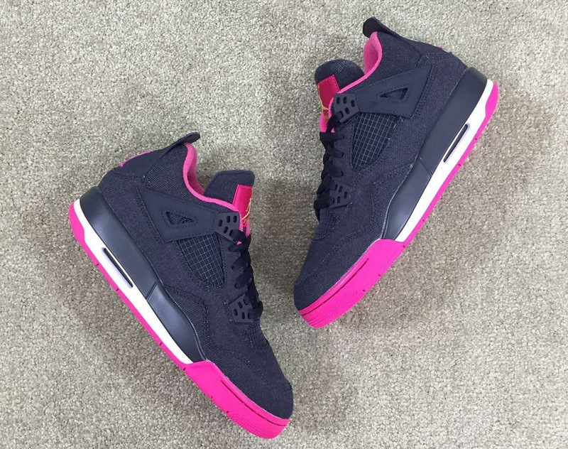 2016 Air Jordan 4 GS Denim Black Red For Women