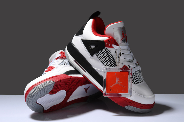 Newest Air Jordan 4 Classic White Red Black For Women