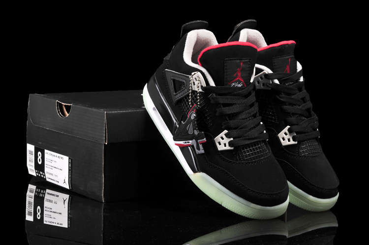 Newest Air Jordan 4 Midnigh Classic Black Red For Women