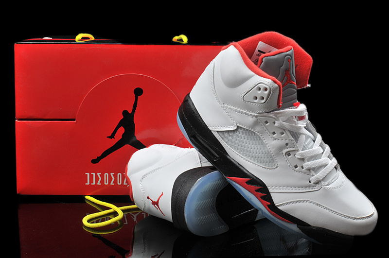 Newest Air Jordan 5 Hardback White Black Red
