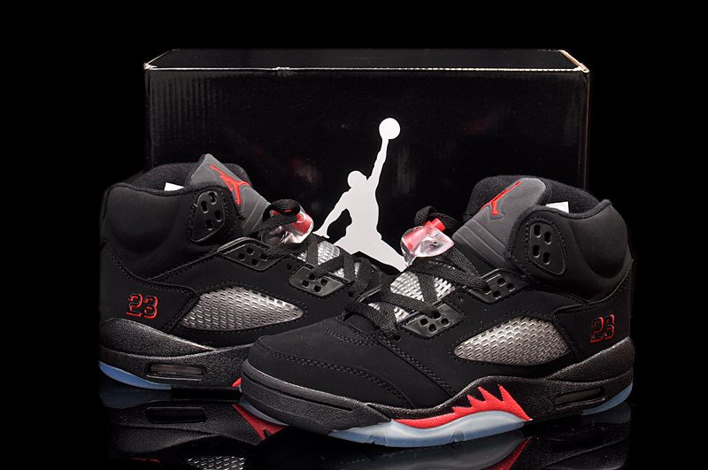 Newest Air Jordan 5 Retro Black Red For Women_05