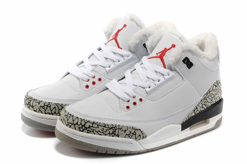 Newest Air Jordans 3 Classic Wool White Grey Cement