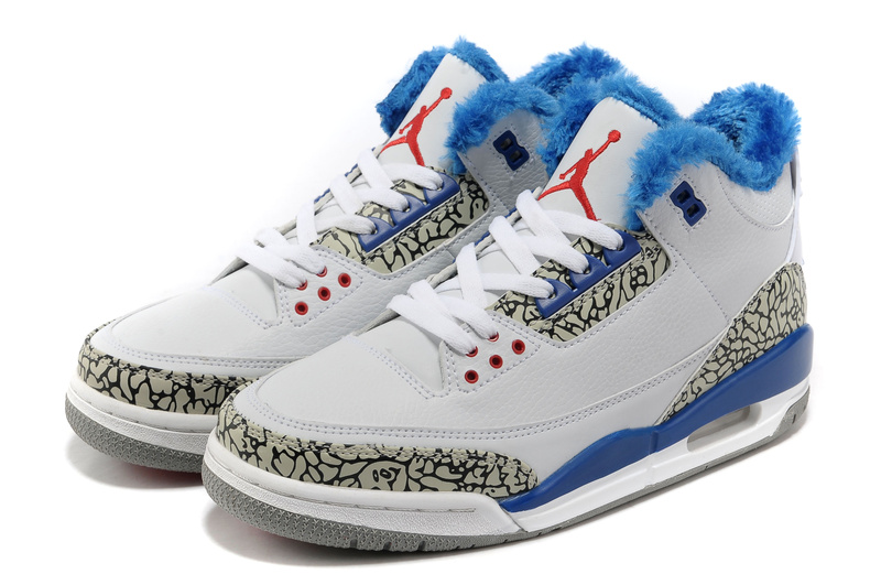 Newest Air Jordans 3 Retro Wool White Blue Grey Cement