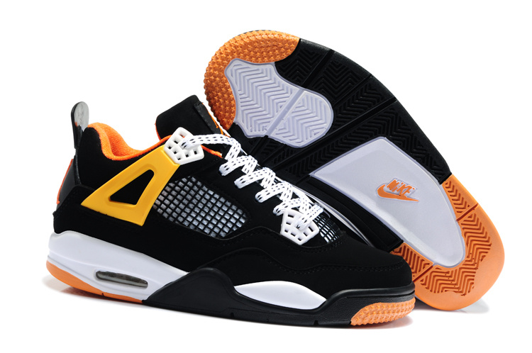 Newest Air Jordans 4 Retro Black White Orange For Kids_04