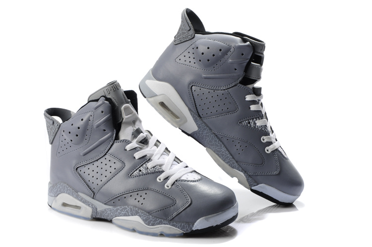 Newest Air Jordans 6 Classic Grey White_06