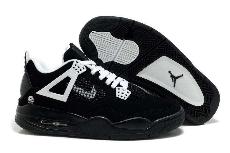 Newest Air Jordans Classic 4 Black White Logo