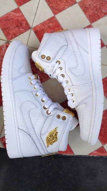 Newest Jordans 1 All White Gold Shoes