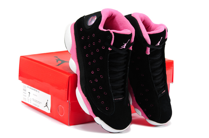 Newest Jordan 13 Suede New Arrival Black Pink White Shoes