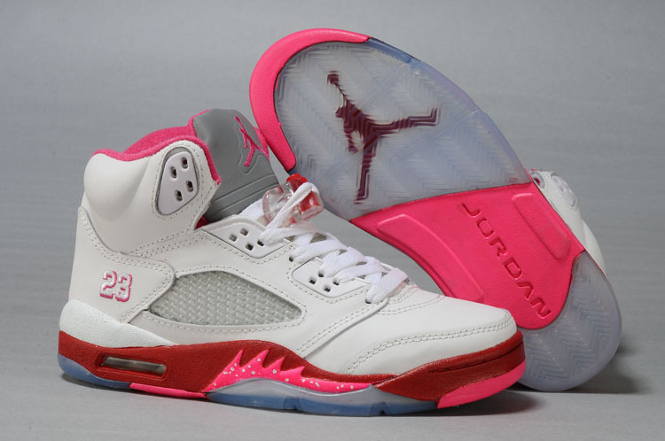 Newest Jordan 5 Classic White Red For Women