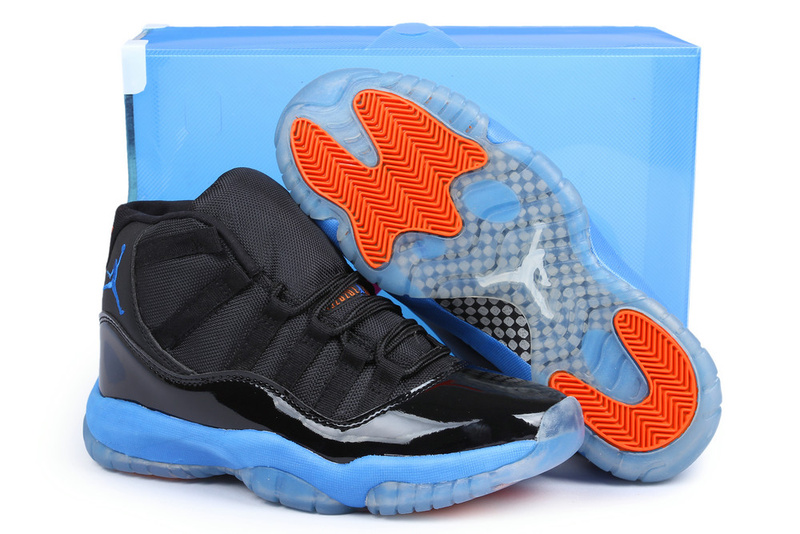 Newest Jordans 11 Knicks Edition Classic Black Blue Orange