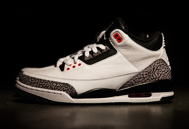 Newest Jordans 3 Classic White Black Cement Red