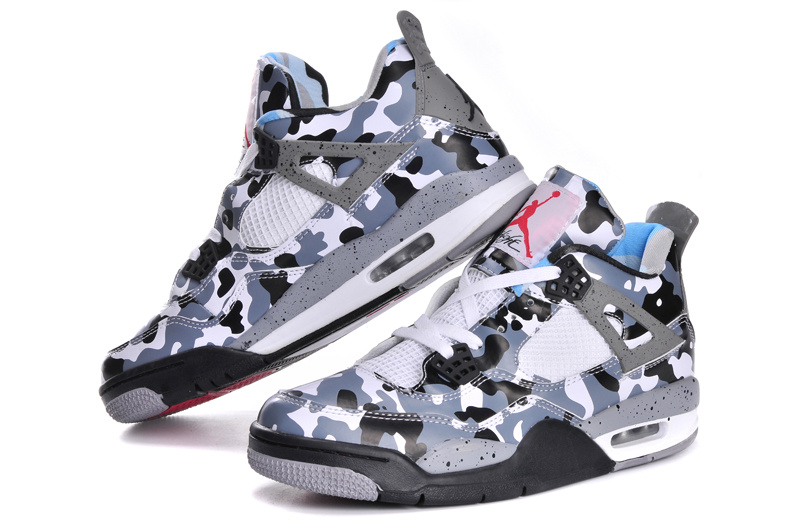 Newest Jordans 4 Classic Camo White Grey Black