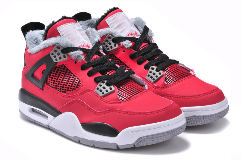 Newest Jordans 4 Classic Red Black White Grey with Wool
