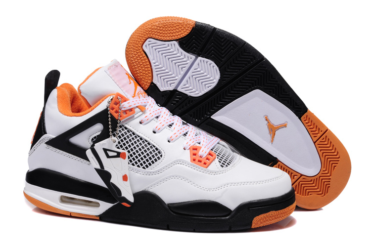 Newest Jordans 4 Classic White Black Orange