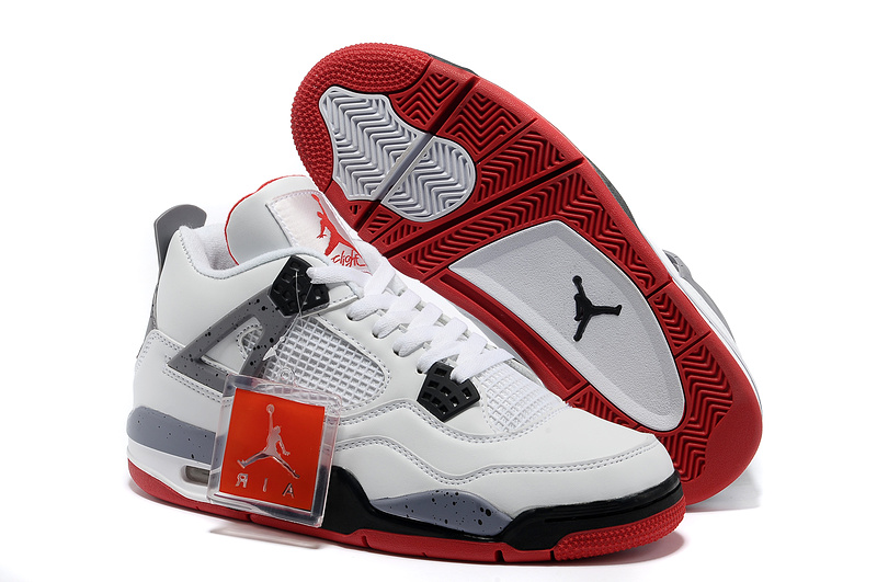 Newest Jordans 4 Classic White Black Red_04